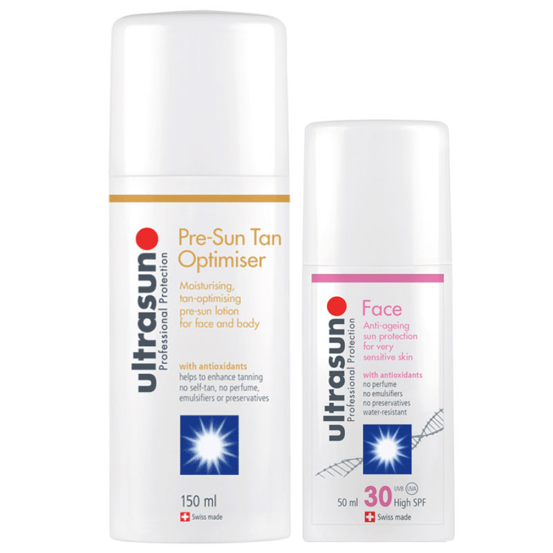 Ultrasun PreSun Tan Optimiser 150ml & Anti Ageing SPF30 Face 50ml Duo